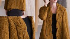 3 Boyutlu Yapraklar Bayan Hırka Yelek Kazak Örgü Modeli