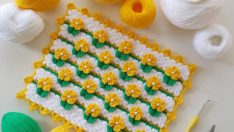 Puf Çiçekli Kare Lif Yapımı