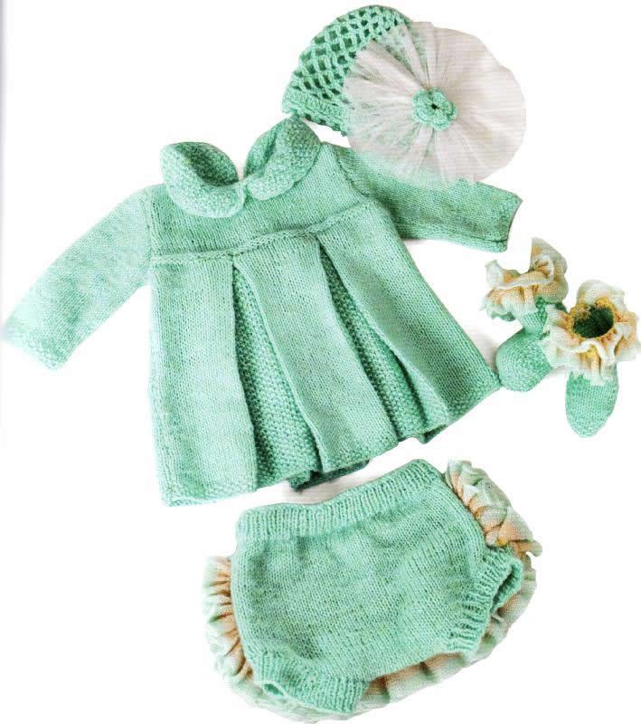 Bebek Örgü Elbise Takımı