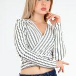 Çizgili Kısa Bluz Modelleri