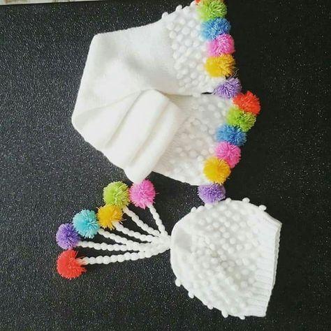 Üç renkli kız bebek atkısı