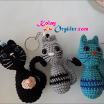 Amigurumi kedi çanta süsü, anahtarlık yapımı