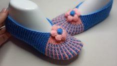 Mavi Pembe Çiçekli Patik Yapılışı